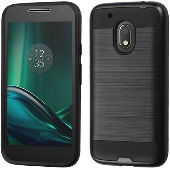 b6c13f0908c Funda Case para Motorola Moto G4 Play Doble Protector de Plástico Uso Rudo  con Aspecto Metalico