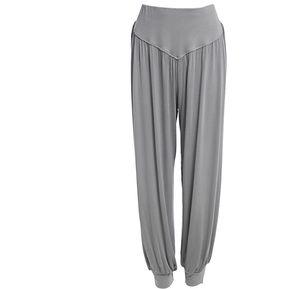 6bfd308088f02 Estilo Elástico De La Cintura Causal Holgados Pantalones De Yoga Pantalones  Bombachos Para Señoras Gris Claro