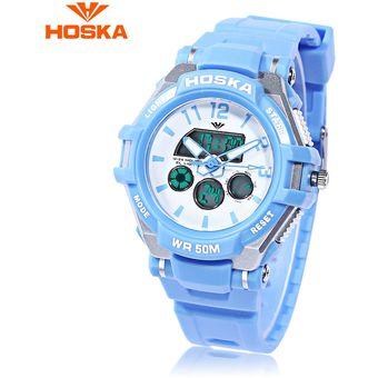 2e0b2399e6b0 HOSKA HD028S Niños Dual Movt Reloj Calendario 5ATM 24 Horas Display LED  Digital Reloj De Pulsera
