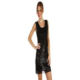 Lentejuelas Negro Mujer Bordado Shopping Vestido con Lalitas EYqXnX