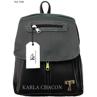 619eba5210c Morral Bolso Mochila De Mujer Dama Joven Unicolor Karla Chacon Ref Fabi  Negro