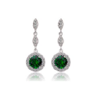 00f5589b571e Aretes Largos Corte Princesa Verde Esmeralda Plata 925 Y Circonias Amour