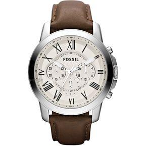 4f4edb78f0fe Reloj Fossil FS4735 Analógico Correa De Cuero Para Hombre - Marrón Y Blanco