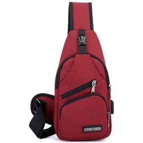 64b8d5bc5 Bolsa Con Puerto USB Para Cargar E-Thinker Para Hombre - Rojo