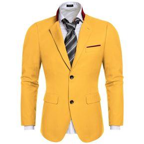 moda hombre Slim Chaqueta Blazer abrigos -Amarillo ce6792db703