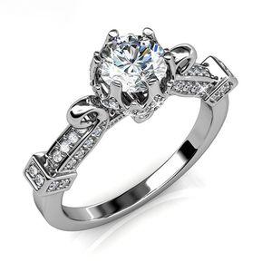 c78813f20410 Záffira - Anillo Compromiso Con Cristales Swarovski - Blanco