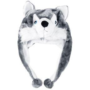 Cartoon Animal Lindo Husky Fluffy Plush Gorro Bufanda Tapa Earmuff Mascota  Blanco Y Gris. 1f02a5206df