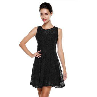 Mini vestido de encaje negro