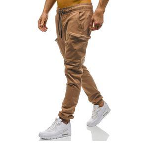 dba60b30b2 Pantalones Con Varios Bolsillos Color Camuflaje Para Hombre-Caqui
