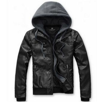 100% autentico descuento más bajo moderno y elegante en moda Chaqueta de cuero delgada con capucha para hombre-Negro