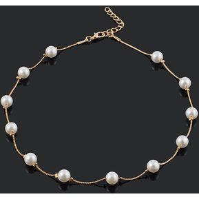 82dd4daffcbf EY 12 simulado hermosa Perla exquisito buen Regalo Collar de mujer-Golden