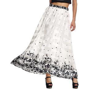 Finejo Falda Larga Estampado Para Mujer-Blanco ae4be9776a14