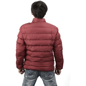 082de06aed43 Men Thickened Cotton Jacket Stand Collar Solid Slim-cut Cotton Clothes Dark  Red