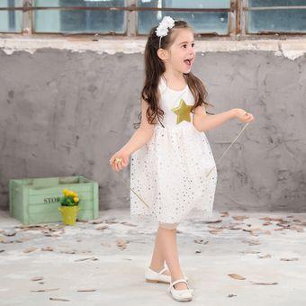 8fac937f9 Ropa De Niños Coreanos Ropa Niña Niños Vestido Pentagrama Geométrico Sin  Mangas Una Línea Niña Vestido