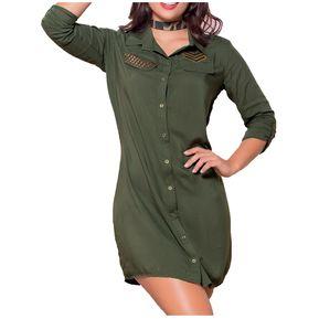 cf8d2c5ba Vestido Juvenil Femenino Marketing Personal 38379 Verde Militar