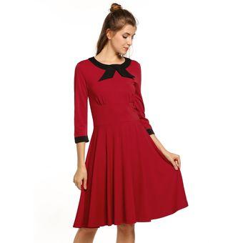 d6a6a1a44f Compra Vestido Manga 3 4 Vintage Plisado Para Mujer-Rojo online ...