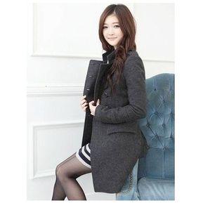 94a55a1293b7 Abrigo De Lana Botones Elegante Para Mujer-Gris Oscuro