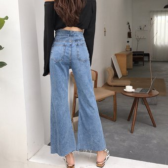 3a4de3ba17 Mujer Vaqueros talle alto vintage Pantalones de mezclilla pierna ancha
