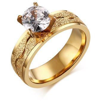37afc760e1f6 Compra Anillo De Acero Inoxidable De Diamante De Mujer-Dorado online ...