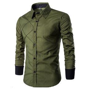 Adelgazante Comprobado Patrón Largo Manga Camisa Para Hombres (Verde) 916cc49898d