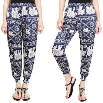 Suelto Pantalones De Pierna Ancha  harén Con Bolsillos Estampado Floral  -Bandera -Azul Elephant 11c85201d958