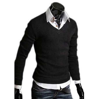 Compra Buso Hombre Sweater Cuello V Negro Online Linio