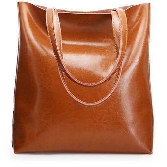 Bolso de hombro grande de cuero genuino vintage para mujer