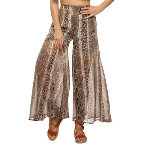 99774fa87 Pantalones de pierna ancha Gasa Estampado Yucheer para mujer Marrón