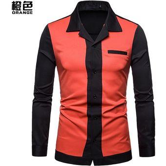 b5ce3c50c Camisa de solapa de manga larga de moda casual para hombre - Naranja