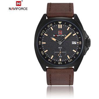 27600c7d055c ER NAVIFORCE 9104 Hombres Impermeable Reloj De Muñeca De Moda Pulsera De  Cuero -Marrón Y Negro
