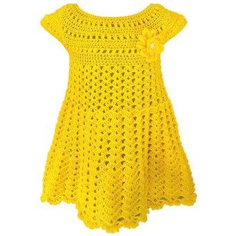 Vestido Para Niña Bebe Amarillo 12 Meses Tejido