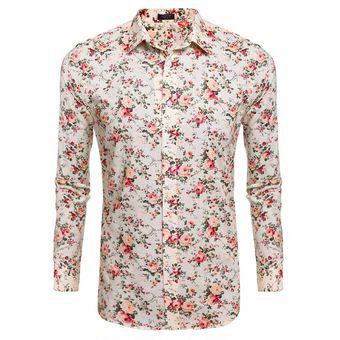 63c7a6ebbb Compra Camisa Estampada Floral Manga Larga para Hombre-Multicolor ...