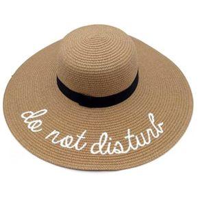 Las mujeres de verano Sol sombrero de paja de ala ancha Carta bordado Playa  plegable Colorido a66c3777511