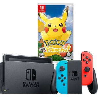 Nintendo Switch Neon Con Juego Pokemon Let's Go Pikachu