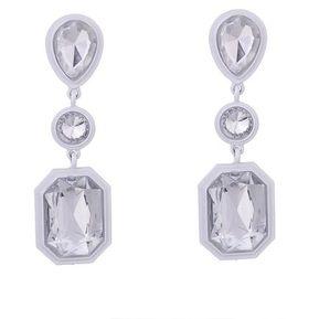 21a8d4010f36 Pendientes de cristal gota de agua borla simples (Blanco)