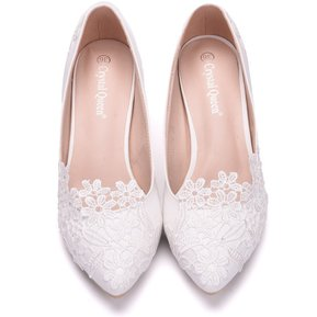 989235f8 Encaje Elegante novia mujer tacones-Blanco