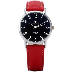 Cuero Yazole cuarzo de los hombres Bluelans de cristal rojo de la correa de  reloj Black bd6702d93831
