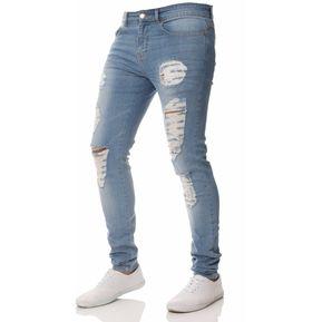38dea339 Pantalones vaqueros desgastados destruidos para hombres 2019 estiran jeans