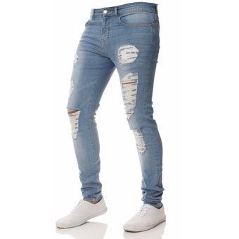 gran venta 696b1 7abf6 Pantalones vaqueros desgastados destruidos para hombres 2019 estiran jeans