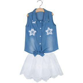 2pcs Con Estilo Turn Down Camisa Sin Mangas De La Estrella Apliques Demin  Las Niñas Con 2ff46e9550dd