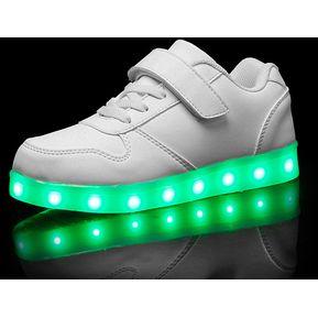 c7e5b2d1b0c Zapatos Niño De Deporte Luces Colorido Zapato Calzado-blanco