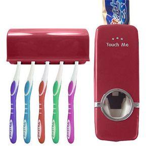 Dispensador Pasta Dental Con Porta Cepillos Color Vino 2731a97d55d