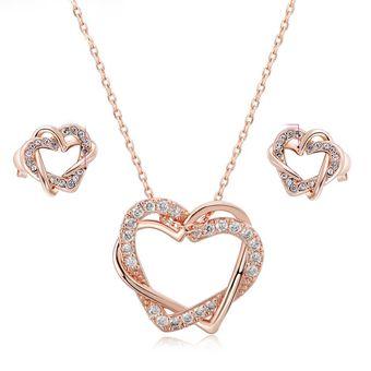 b393e3487491 Compra Set Collar Y Arete Mujer Corazón Entrelazado Amor - Oro Rosa ...