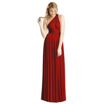 e233061673bc Vestido De Noche Modela Bella Convertible Multiformas Largo Rojo