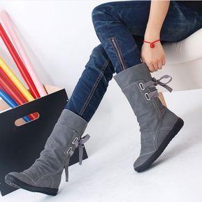 Señoras calientes del invierno Botas Elegantes botas de moda nueva-Gris 9aae27c0ab39e