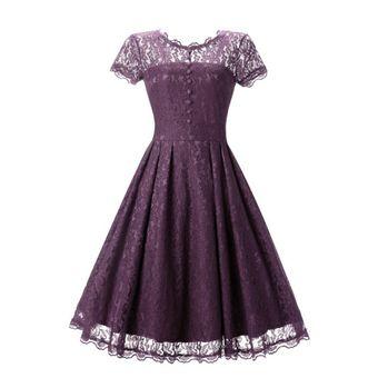Agotado Vestido Manga Corta Gasa Sólido Color Princesa Falda - Morado Claro 49db07a4bcdc