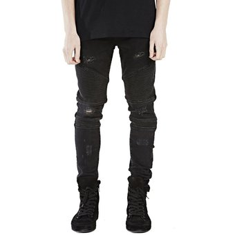 9e9f24d493 Jeans Pitillo Ajustados Para Hombres Hiphop Skinny Jeans Para Hombre-Negro