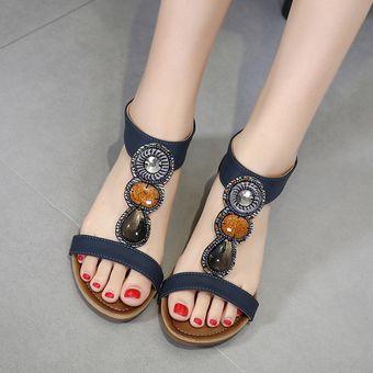 f6d3b42def846 Calzado grande sandalias de cuña zapatos de mujer romanos ocasionales-azul