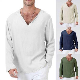 Compra Camiseta De Manga Larga V-cuello Algodón Y Lino Para Hombre ... c170f79d3005f
