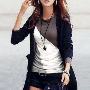ff40bd8e0e2d5 Camiseta Delgado Camisera Casual O Cuello Patchwork Contraste Color Para  Mujer-Negro